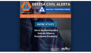 Defesa Civil confirma alerta de baixas temperaturas, entre -3°C e 0ºC para a região de Prudente