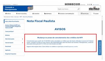Créditos da Nota Fiscal Paulista não utilizados após 12 meses serão cancelados a partir do dia 17