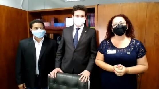 De Brasília, prefeita, vice-prefeito e deputado Enrico Misasi anunciam R$ 700 mil para Santa Casa