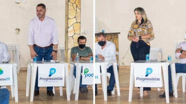 Bico e Rosi Barreta, confirmados como pré-candidatos a prefeito e vice-prefeita, em convenção do Progressista, Republicanos, Podemos e Democratas (Divulgação/Da Assessoria).