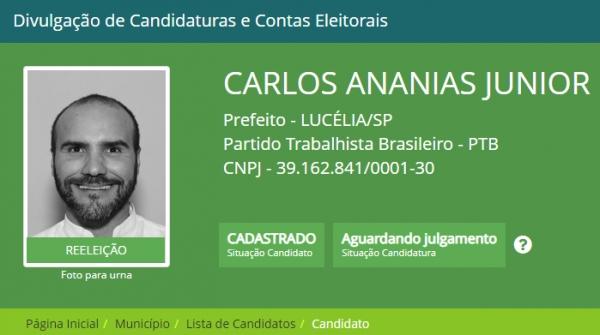 (Reprodução/DivulgaCand/Justiça Eleitoral).