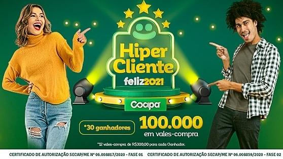 Sorteio da segunda fase da campanha acontece neste sábado (13), no Hiper Cocipa, em Inúbia Paulista (Divulgação/Cocipa).