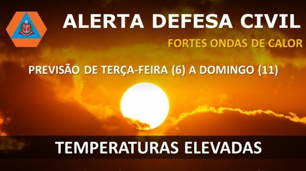 Novo alerta da Defesa Civil vale entre terça-feira (6) e domingo (11), para todo o Estado de São Paulo (Reprodução).