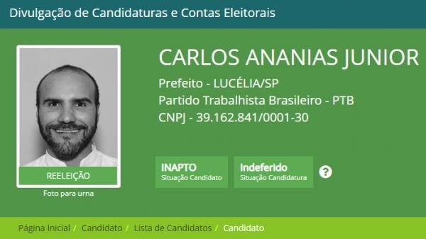 Atualização no sistema da Justiça Eleitoral já informa que candidato está inapto e com candidatura indeferida (Fonte: Divulga Cand).