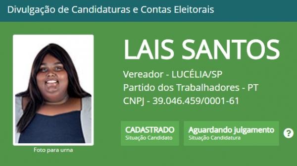 Candidata publicou ter sofrido ataque nas redes sociais. Para o diretório municipal do PT, em Lucélia, houve intolerância e preconceito estético (Reprodução/Justiça Eleitoral).
