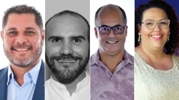 Candidatos a prefeito de Lucélia: Bico, Carlos Ananias Junior, Professor Sérgio Belarmino e Tati Guilhermino (Reprodução/Divulga Cand/TSE).