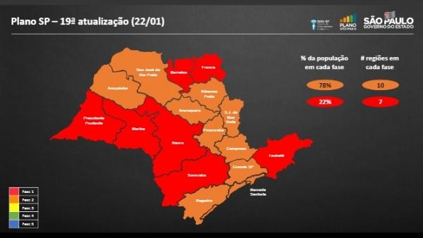 Mapa da nova atualização do Plano SP, que vigora a partir da próxima segunda-feira (Divulgação).