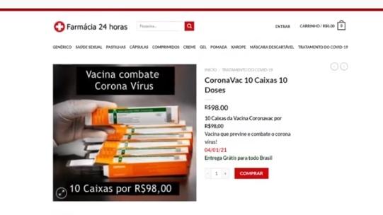 Golpe: Procon-SP alerta para anúncio falso de vacina, publicado em site (Divulgação/Procon-SP).