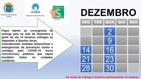 Calendário de entrega do Viva Leite para dezembro (Divulgação/PML).